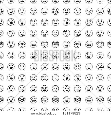 Seamless Pattern Of Hand Drawn Lines Smiles.