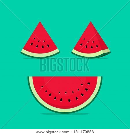 Watermelon slices vector illustration isolated on green big watermelon half slice with seeds and small watermelon slices icons set with shadow