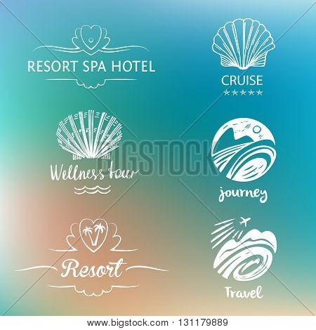 Set of design logo of subject travel and tourism. Hand drawn silhouettes. Beach vacation in the tropics flight. Logo for advertising tourism companies tour operators.