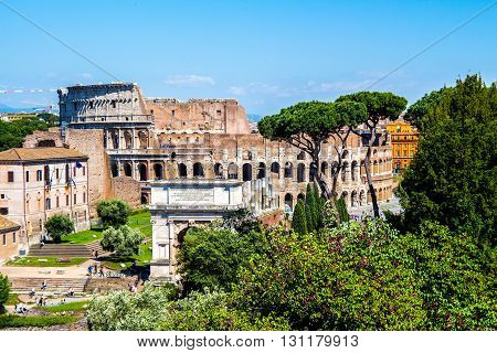 view of the Coliseum from the Roman Forum in Rome Italy