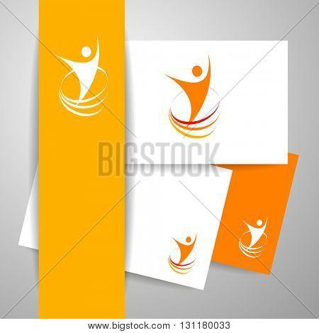 Success logo. Energy symbol. Winner logo template. Identity business concept. Human abstract.