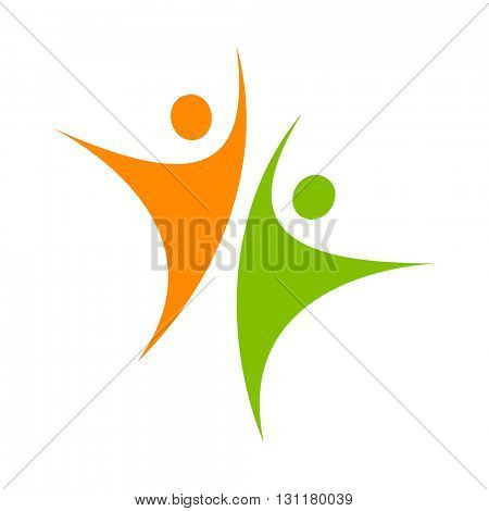 Logo template - successful team. Success team logo. Human character logo. Team logo. Abstract people logo. Design element.