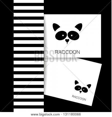 Raccoon logo. Isolated raccoon head on white background. Raccoon identity presentation template. Raccoon mascot idea for logo, emblem, symbol, icon.