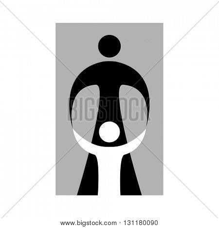 Mother care of child. Sign symbol of love, care and guardianship. Template for logo of social organization, Foundation for Protection of Children, the medical center and etc.