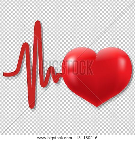Heart Beats, Isolated on Transparent Background, With Gradient Mesh, Vector Illustration