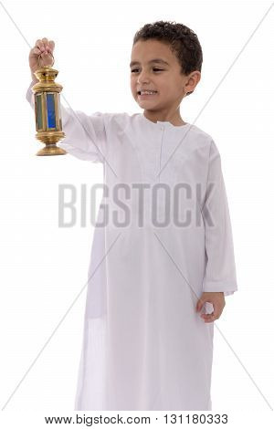 Little Happy Boy Celebrating Ramadan With Lantern