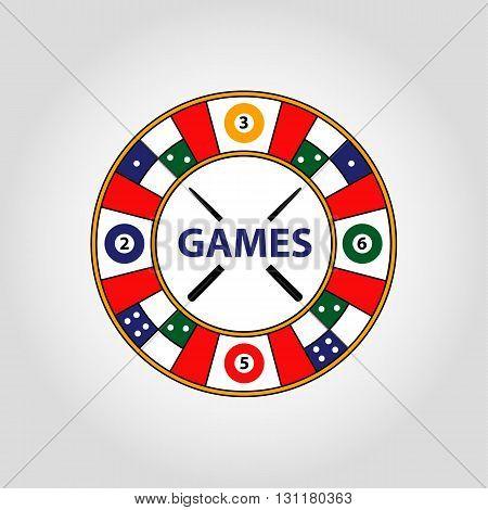 Vector Circle Logo. Desktop Gambling  Cards, Billiards, Roulette