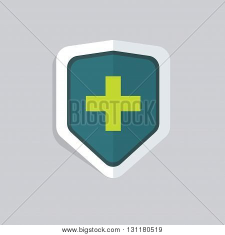 Medical shield vector icon isolated green medical cross on shield concept of guard pharmacy insurance symbol protection medical safety sign flat cartoon illustration design