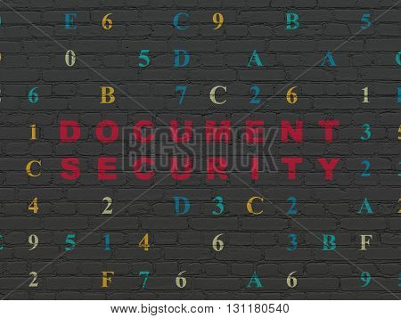 Protection concept: Painted red text Document Security on Black Brick wall background with Hexadecimal Code