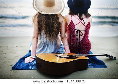 Beach Beauty Casual Guitar Energy Friendship Concept
