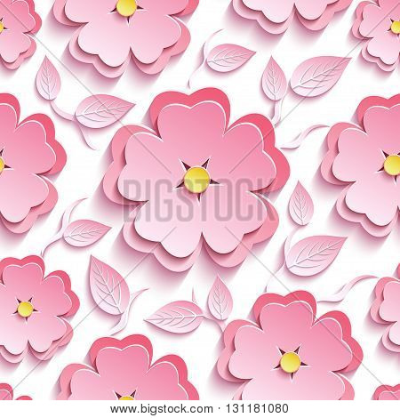 Stylish trendy background seamless pattern with pink 3d flower sakura - japanese cherry tree branch and leaf cutting paper. Floral modern wallpaper. Vector illustration