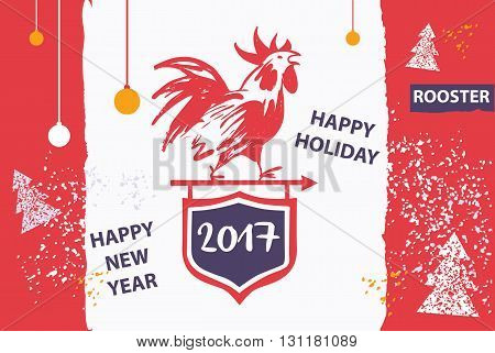 2017 Chinese New Year Of The Red Rooster. Vector Illustration. H