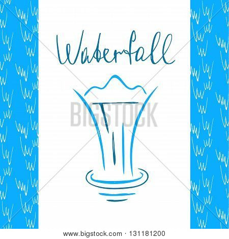 Vector logo with line sketch elements for fresh water company. Hand drawn illustration blue waterfall on white background.