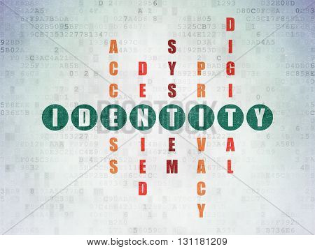 Security concept: Painted green word Identity in solving Crossword Puzzle on Digital Data Paper background