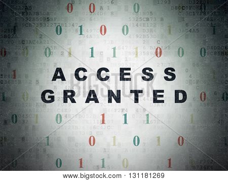 Privacy concept: Painted black text Access Granted on Digital Data Paper background with Binary Code