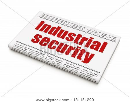 Privacy concept: newspaper headline Industrial Security on White background, 3D rendering