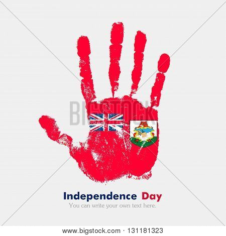 Hand print, which bears the Bermuda flag. Independence Day. Grunge style. Grungy hand print with the flag. Hand print and five fingers. Used as an icon, card, greeting, printed materials.