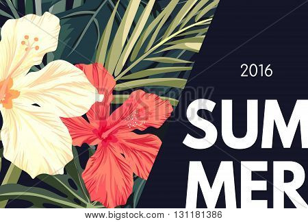 Summer tropical hawaiian background design with palm tree leaves and exotic flowers, vector illustration