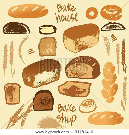 Set Of Illustration Of Bread For Menu Bake Shop And House