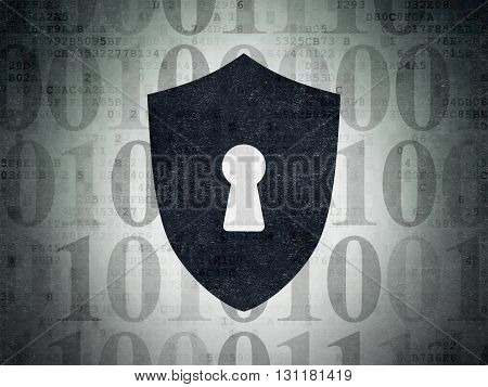 Protection concept: Painted black Shield With Keyhole icon on Digital Data Paper background with  Binary Code
