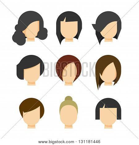 Hair styling vector illustration isolated on white background haircut set on woman head silhouette hair abstract model flat cartoon shapes design