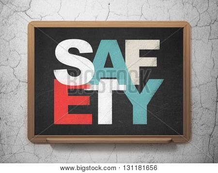 Privacy concept: Painted multicolor text Safety on School board background, 3D Rendering