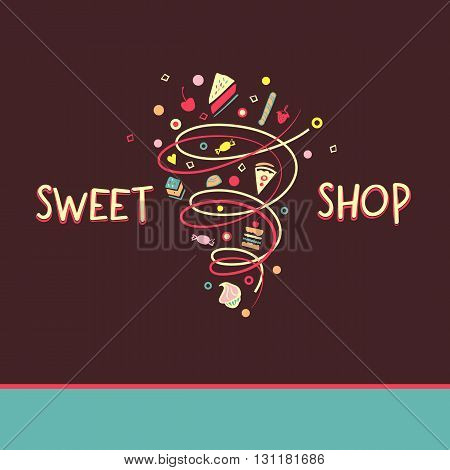 Candy And Cookies. Bright, Festive Style. Sweet Shop.