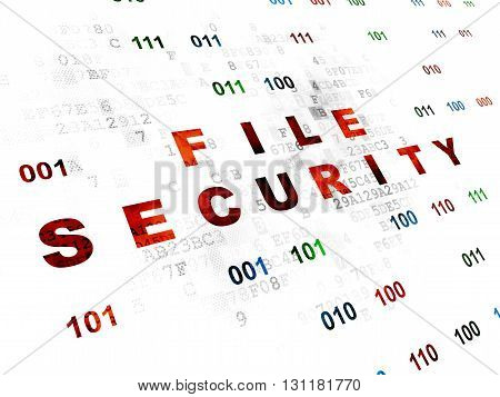 Protection concept: Pixelated red text File Security on Digital wall background with Binary Code