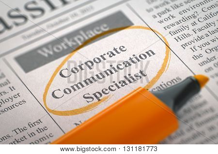 Corporate Communication Specialist. Newspaper with the Small Advertising, Circled with a Orange Marker. Blurred Image with Selective focus. Hiring Concept. 3D Render.