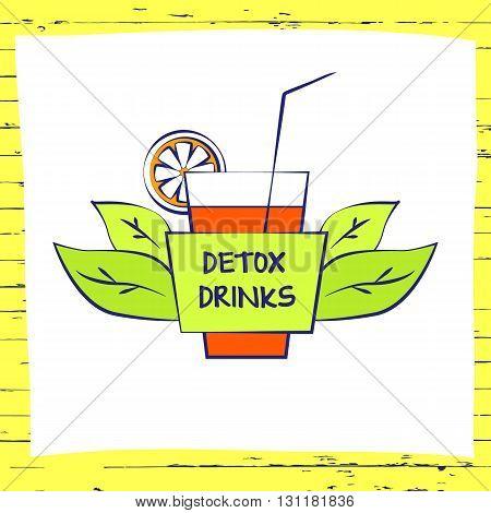 Vector Logo Fresh Fruit Coctail. Premium Beverage Health Line On
