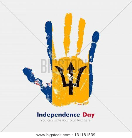 Hand print, which bears the Flag of Barbados. Independence Day. Grunge style. Grungy hand print with the flag. Hand print and five fingers. Used as an icon, card, greeting, printed materials.