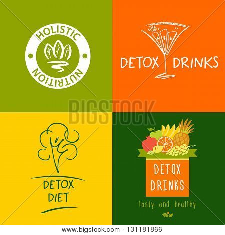 Set Of Vector Logo Detox Drink, Diet And Holistic Nutrition On C