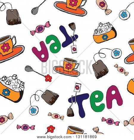 Seamless with tea vector set. Spoon and cup with tea. Teatime seamless. Sugar and candies. Tea bug. Lettering.