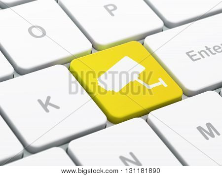 Protection concept: computer keyboard with Cctv Camera icon on enter button background, selected focus, 3D rendering