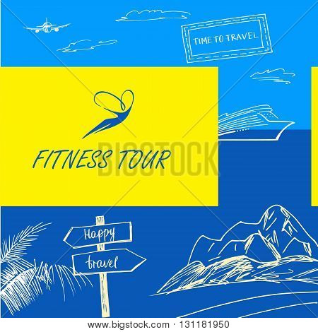 Vector Logo Fitness Tour. Sign Happy Travel. Color Background Wi