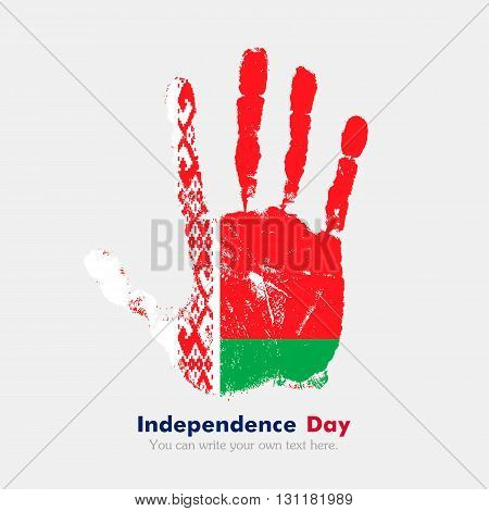 Hand print, which bears the Flag of Belarus. Independence Day. Grunge style. Grungy hand print with the flag. Hand print and five fingers. Used as an icon, card, greeting, printed materials.