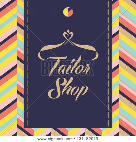 Vector Logo For Salon And Shop Tailoring.  Color Background With