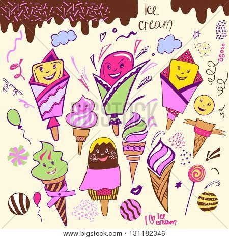 Set Of Illustration Hand-drawn Element Cartoon Images Sweets, Ch