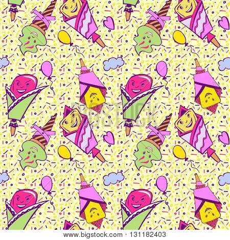 Vector ice cream background doodle ice cream pattern. Hand drawn summer illustration. Cartoon ice cream