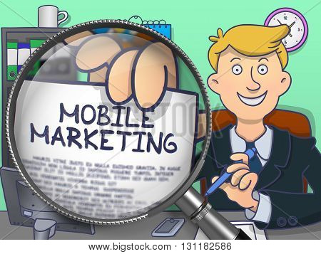 Man Holding a Text on Paper Mobile Marketing. Closeup View through Magnifying Glass. Colored Doodle Style Illustration.