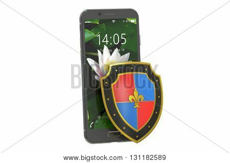 Mobile security and antivirus protection concept 3D rendering