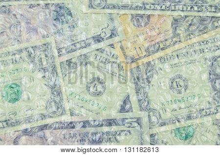 Banknotes under air bubble foil british pounds or dollars