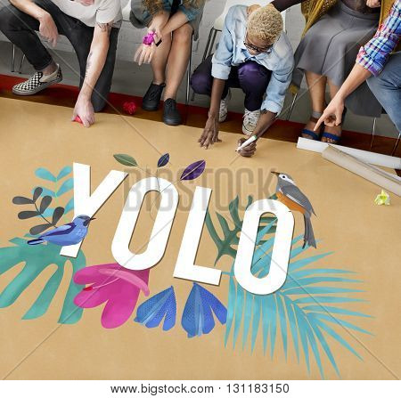 Yolo Free Happy Fresh Motivation Concept