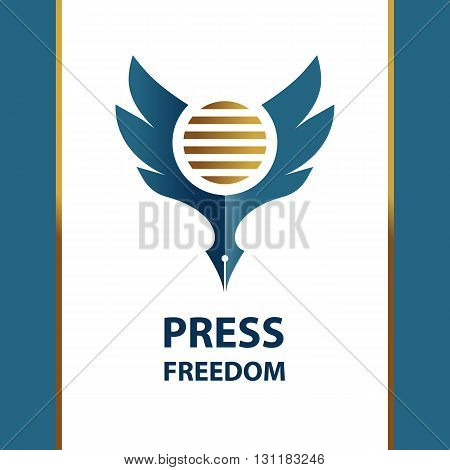 Logo for sign freedom press, sign for presentation event. Blue eagle on white background.