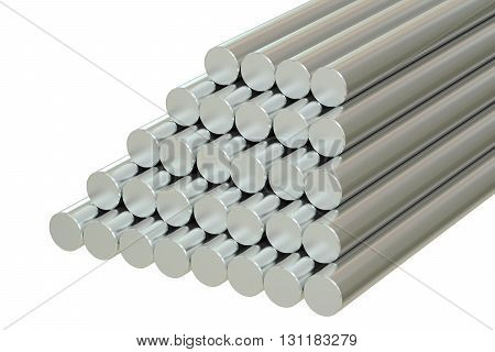 Steel Round Bars 3D rendering isolated on white background