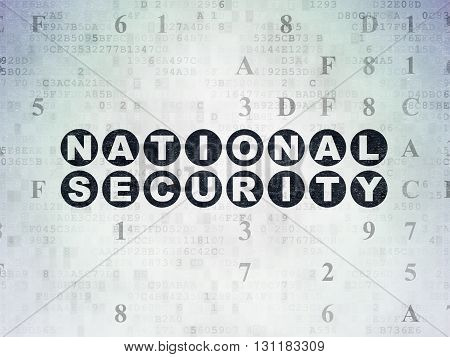 Security concept: Painted black text National Security on Digital Data Paper background with Hexadecimal Code