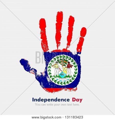 Hand print, which bears the Flag of Belize. Independence Day. Grunge style. Grungy hand print with the flag. Hand print and five fingers. Used as an icon, card, greeting, printed materials.