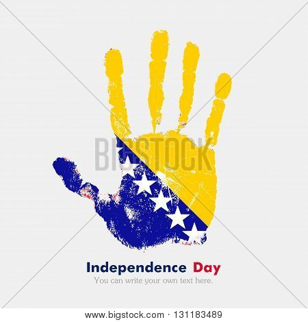 Hand print, which bears the Flag of Bosnia and Herzegovina. Independence Day. Grunge style. Grungy hand print with the flag. Hand print and five fingers. Used as an icon, card, greeting, printed materials.