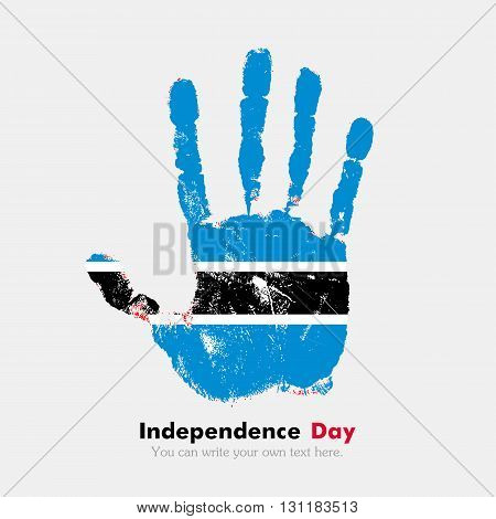 Hand print, which bears the Flag of Botswanai. Independence Day. Grunge style. Grungy hand print with the flag. Hand print and five fingers. Used as an icon, card, greeting, printed materials.