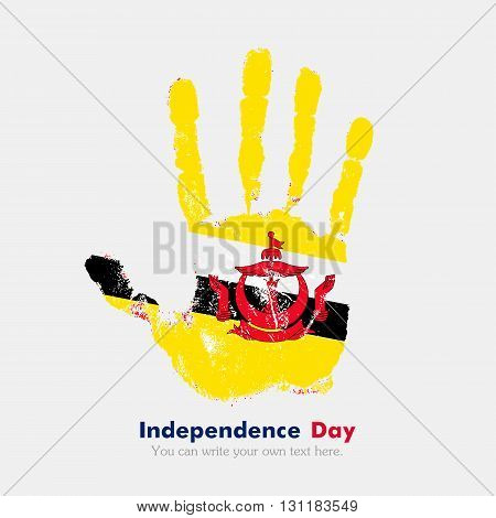 Hand print, which bears the Flag of Brunei. Independence Day. Grunge style. Grungy hand print with the flag. Hand print and five fingers. Used as an icon, card, greeting, printed materials.